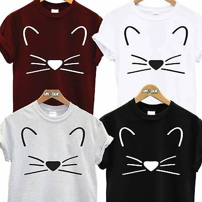 Meow Pussy Cat Crazy Face T Shirt Top Tee Tshirt Fancy Dress Tumblr Fashion Gift