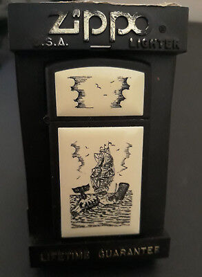 Zippo small lighter black white ship sea with OR. BOX