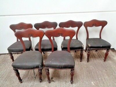 Antique Set Of 6 Regency Mahogany Bar Back Chairs Georgian ?  Dining Chairs