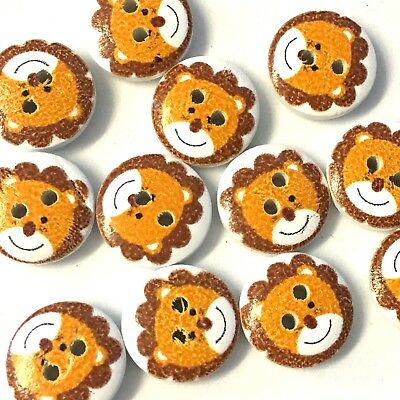 10 x painted white wood 15mm buttons with cute lion design, childrens knits,
