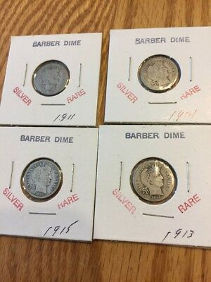 4 BARBER DIMEs (please See Details)