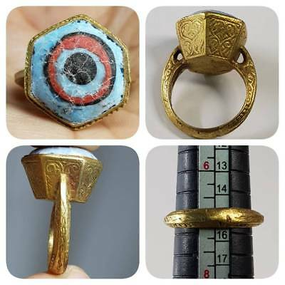 Beautiful Ring With Ancient Mosaic eye Glass Cabochon   # C2