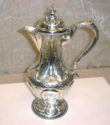 "Antique Silver Engraved Floral Design Claret/Water Ewer 12.5""T"
