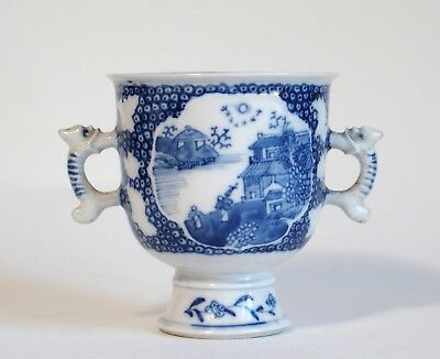 Fine antique Chinese 19th century two-handled blue & white porcelain cup