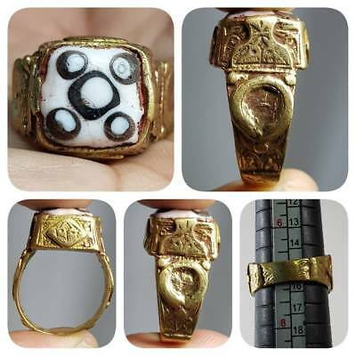 Ancient Mosaic 5 Eyes Glass Beautiful Unique Ring    # G2
