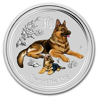2018 ~ 1/4~OZ. .9999 SILVER ~ LUNAR  YEAR of the DOG ~ PERTH MINT ~COLOR~ $15.88
