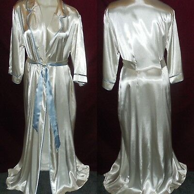 Nwot L-Xl Jones N Y Long Wet-Look Satin Blue/ivory Robe Peignoir Dressing Gown