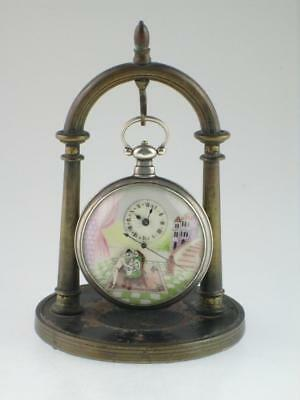 Antique Chinese Erotic Solid Silver Automation Bovet Pocket Watch Circa 1820