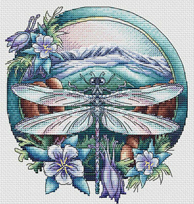 Christmas Cross Stitch Pattern , Dragonfly Summer Insect Embroidery, DMC Chart