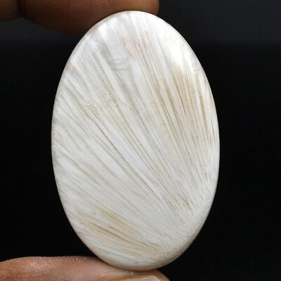 Cts. 49.60 Natural Chatoyant High Grade Scolecite Cabochon Oval Loose Gemstone