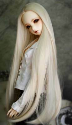 "1/3 8-9-10"" BJD Doll Pullip Wig Light Blonde Straight Buckle Curl Tips Hair Long"