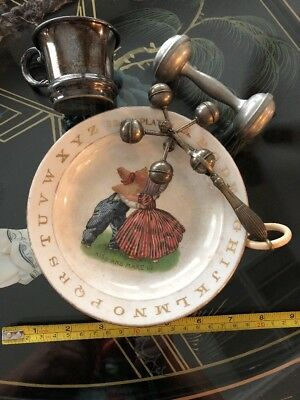 Antique-Vintage Baby Items - 2 Baby Rattles , Cup & ABC Plate