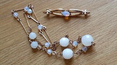 Czech Vintage White And Moonstone Faceted Glass Bead Necklace/Brooch Lot
