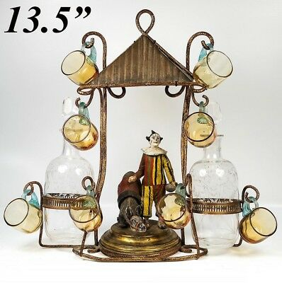 RARE Antique French Liqueur Service, Stand is a Clown, Pierrot and Donkey c.1850