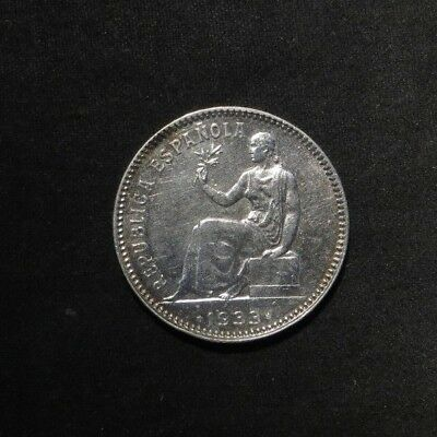 1933 Spain 1 Peseta Silver Coin- RARE HIGH GRADE