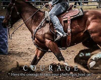 Courage Motivational Art Print Western Decor Cowboy Cowgirl Rodeo Horse MVP555