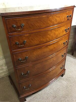 Antique Georgian Style Large Solid Mahogany Bow Fronted Chest of Drawers