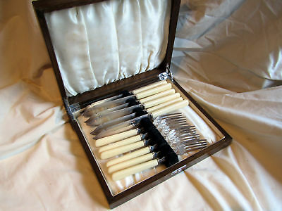 An Antique Knife And Fork Set. Silver Plated