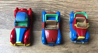 Three Disney Mickey Mouse Toy Die Cast Metal Cars Great Condition!