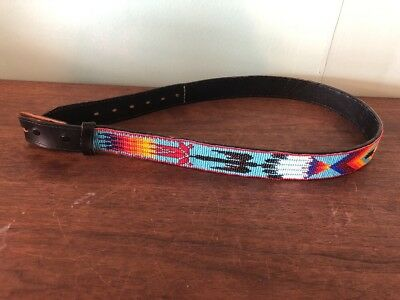 Vintage American Indian Beaded Leather Mens Size 38 Harness Cowhide