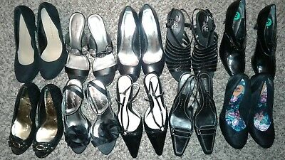 Wholesale Lot Of 10 Black High Heel Shoes Variety Of Styles Womens All Size 8M.