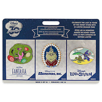 DISNEY Store 30th Anniversary Commerative Pin Set Week 5 STITCH FANTASIA MONSTER