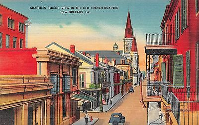 Postcard LA New Orleans Chartres Street View Old French Quarter Vtg Louisiana PC