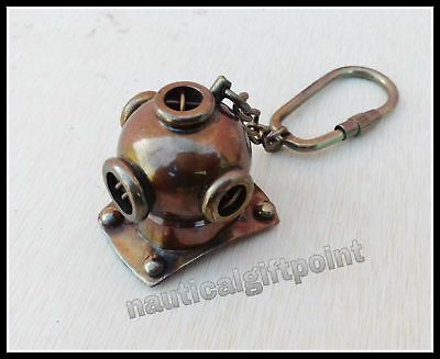 Helmet Brass Diving Divers Key Nautical Keychain Chain Keyring Antique Finish