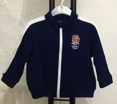 England Rugby Full Zip Track Jacket Age 9-12 Months Navy/White New With Tags