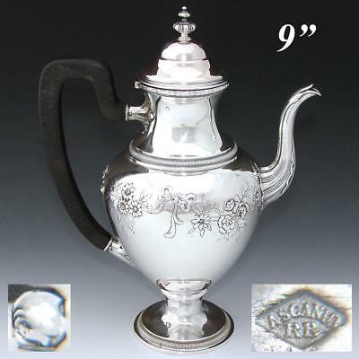 """Antique French Sterling Silver 8.75"""" Coffee or Tea Pot, Bow & Ribbon, Floral"""