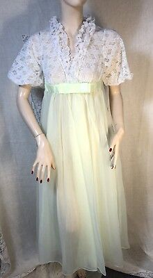 b996998a9c3 Radcliffe Nightgown Robe Vtg 1960s Lime Chiffon Lace Lingerie Pinup Petite  Small