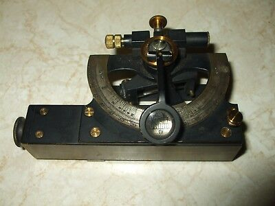 VINTAGE SMALL ABNEY LEVEL/CLINOMETER by HALL BROS (London) IN LEATHER CASE