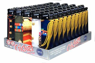 Cricket Disposable Nylon Body Full Size Lighters, MILITARY UNIFORMS, Tray of 50