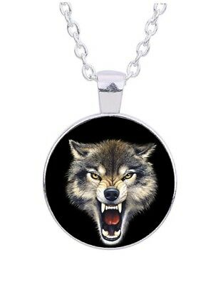 """Growling Wolf 20"""" Silver Tone Chain Glass Cabochon Pendant Necklace"""