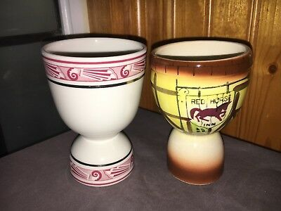 Mayer China WALDORF ASTORIA HOTEL & RED HORSE INN Double  Egg Cups VINTAGE SET