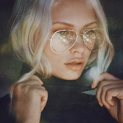 Unisex Big Round Gold Metal Frame Clear lens Vintage Retro Glasses FREE SHIPPING