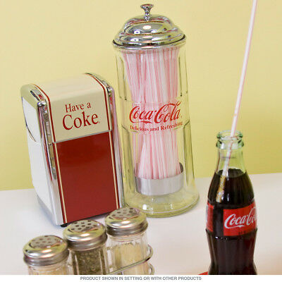 *Retro Coca-Cola* Tablecraft Glass Straw Dispenser w/ Chrome Plated Insert