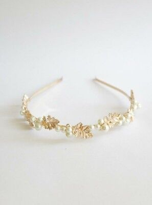 New Anthropologie BHLDN Gilded Gold Leaf and Pearl Headband