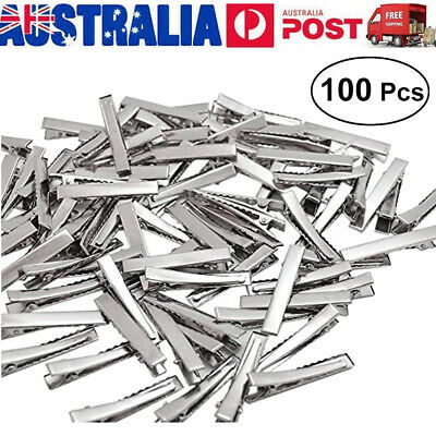 100 X 4cm Silver Metal Plain Hair Clips Alligator Clips DIY Christmas Gift DIY