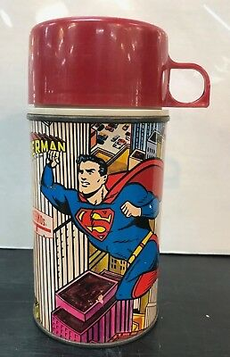 Superman Thermos from 1967!  Intact and all ORIGINAL! DC Comics Lunchbox