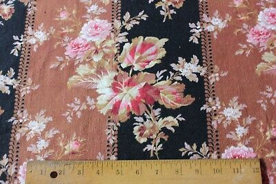 """Lovely Victorian French Roses Cotton Home Dec Fabric c1880~2yds26""""LX32""""W"""