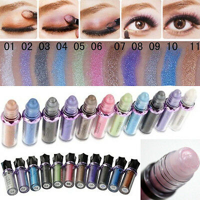 ROLL ON EYE SHIMMER Makeup Eyeshadow Glitter Pigment Powder Body Fast 11Colors