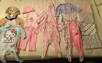 Baby Girl Lot Of Sleep N Play Clothes Blankets Disney 9-12 Months