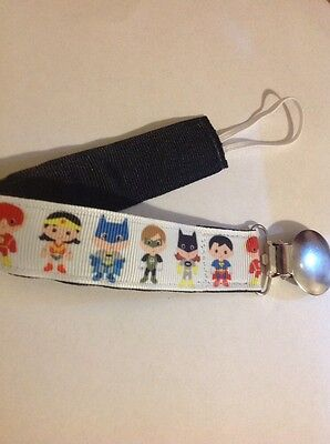 Baby Boy Girl Pacifier Clip Holder Ribbon Little Super Heroes Batman Superman