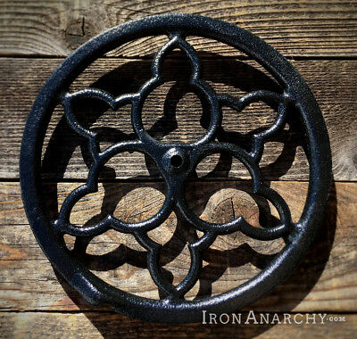 1800s ORNATE PULLEY WHEEL, Antique Vtg Cast Iron Industrial Sewing Machine Gear