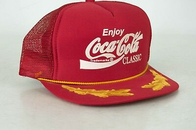 Vintage Coca Cola Hat Red Gold Coke Snapback Trucker Cap Mesh Authentic USA