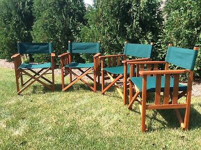 Barlow Tyrie Safari Teak Folding Arm Chairs Set Of 4