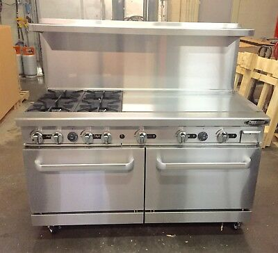 "60"" Range With Grill 4 Burner Gas 36"" Griddle 2 Full Double Size Standard Oven"