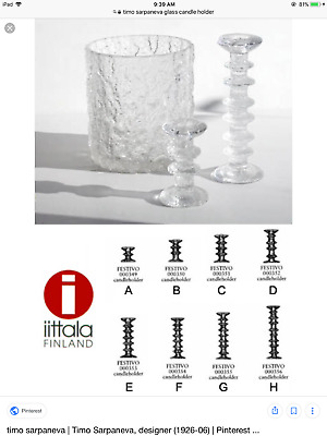 EXC COND Pair Iittala Finland Festivo by Timo Sarpaneva Candle Holder - Size A