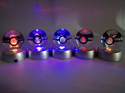 Pokemon Go LED 3D Glowing Lamp Pikachu Pokeball Crystal Ball Toy Gift for Kids